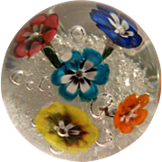 Murano Art Glass Paperweight With A Plethora Of Beautiful Flowers in Happy Colors,