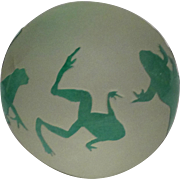 "Very Special ""Frogs Galore"" Frosted, Etched and Overlaid Paperweight,Signed by  Arthur Court"