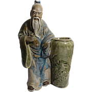 Large Chinese Mudman Standing Sage With Brushpot and Cup