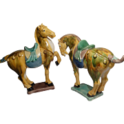 Pair Of Chinese Tang Style Pottery Horses