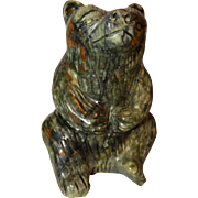 Chinese Large Hand-Carved Hardstone Bear Paperweight