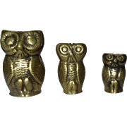 THREE Metal Owl Paperweights