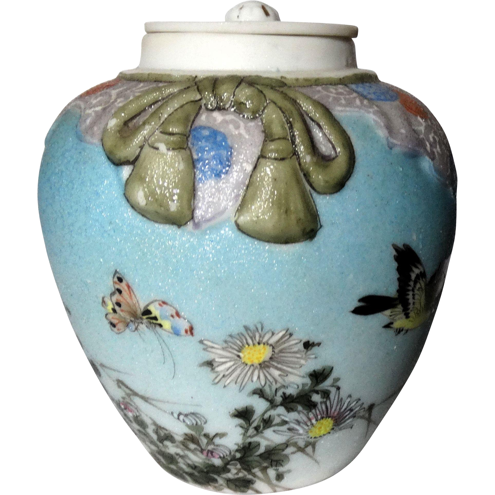 Antique Sharkskin Lidded Jar/Tea Caddy by Japanese Potter Houkokusha, Rare and Beautiful