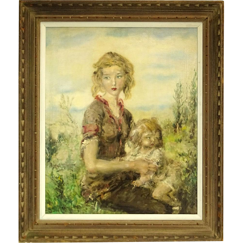Aurel Naray, Hungarian (1883-1948) Oil on Canvas, Mother and Child, Signed
