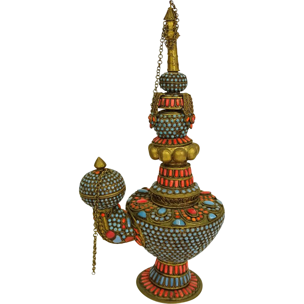 Nepalese Turquoise, Coral and Brass Ceremonial Oil Lamp