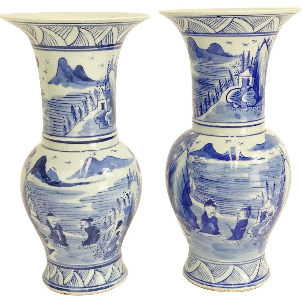 Antique Pair Of Chinese Blue and White Porcelain Baluster Vases, Signed Kangxi Mark