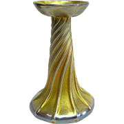 TIFFANY Gold Favrile Iridescent Candlestick, Signed