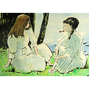 ANDRE CHOCHON French (1910-2005) Signed Original Watercolor On Paper - Girls Seated On The Grass.