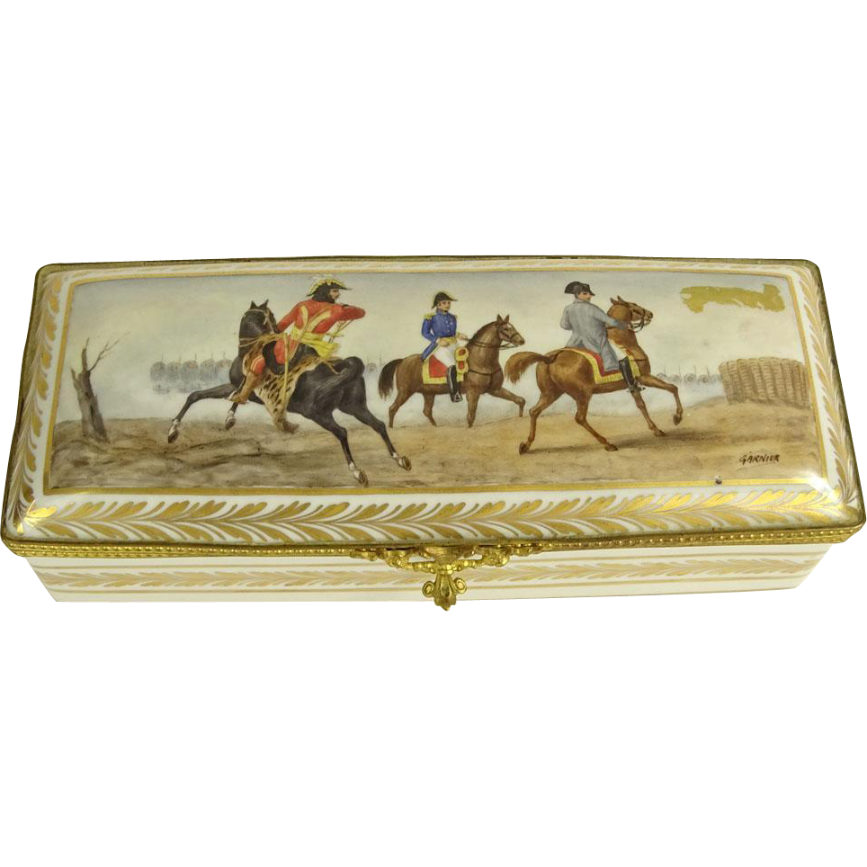 Antique French Porcelain Hand-Painted Glove/Dresser Box; Artist signed Garnier; Makers mark on bottom.