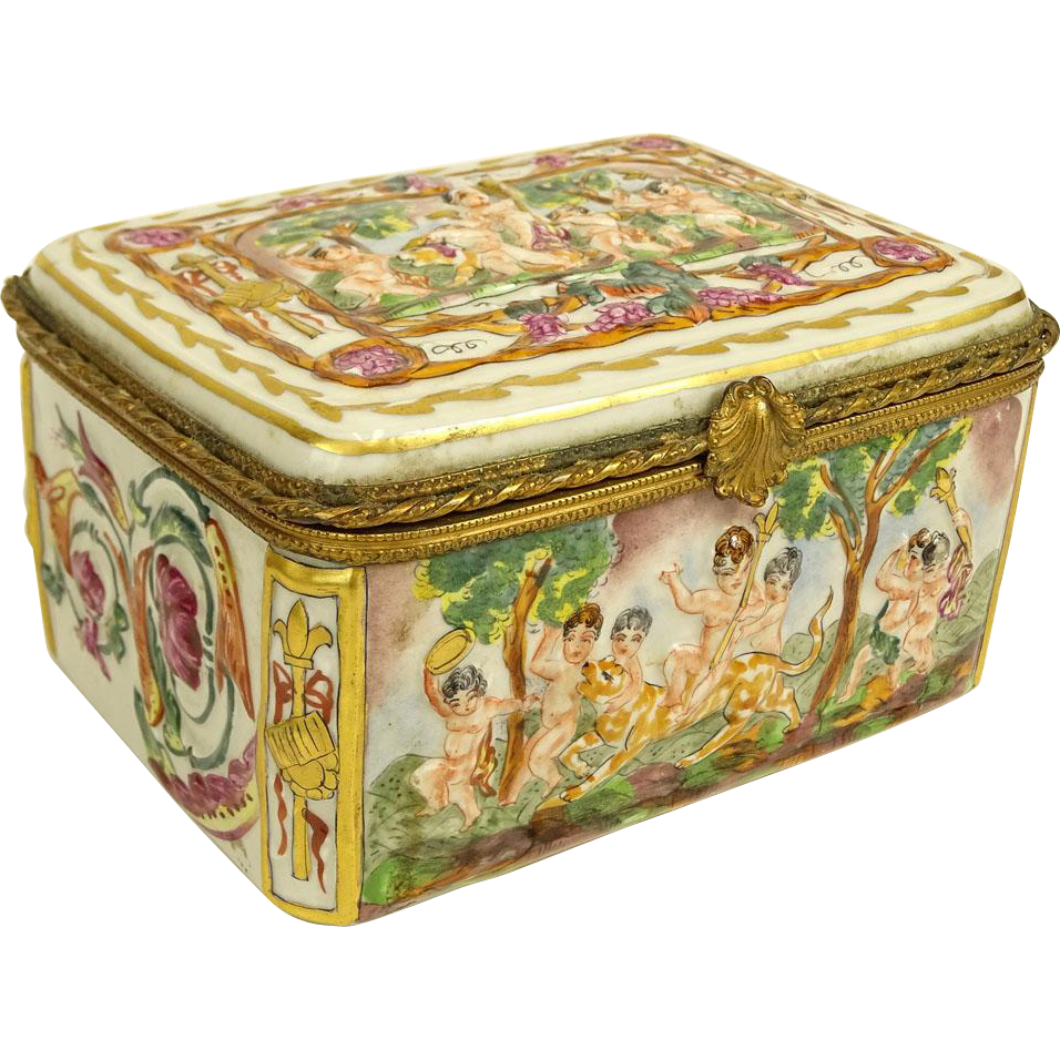 Early to Mid 20th Century Italian Capodimonte Bronze Mounted Porcelain Box With Children, Music, Animals, Flowers in Medium and High Relief!