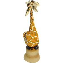 "TODD WARNER (20th Century) Art Pottery ""Giraffe"" Dinner Bell, Signed/Dated"