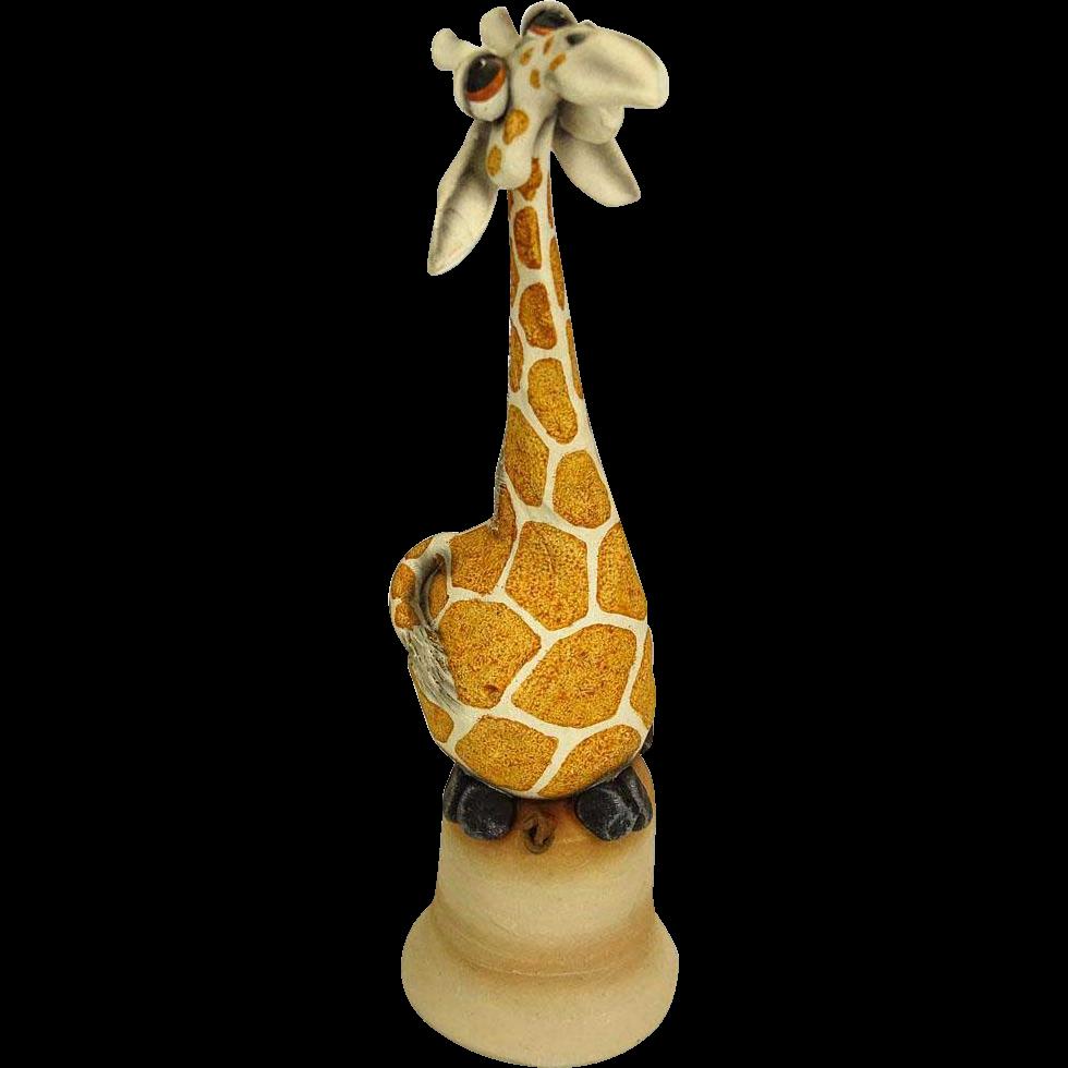 "TODD WARNER (20th Century) Art Pottery ""Giraffe"" Dinner Bell, Signed/Dated"