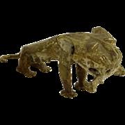 REDUCED African Tribal Benin Cast Bronze Lion Sculpture