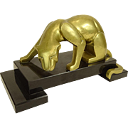 Bronze Panther Mounted On Stepped Marble Base.