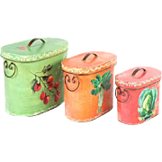 Very Happy Nesting Set Of Three Oval Boxes With Hinged Tops, Painted With Fruit andVegetables