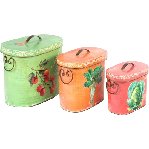 Very Happy Nesting Set Of Three Oval Boxes With Hinged Tops, Painted With Fruit and Vegetables