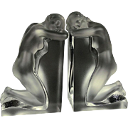 "Pair Lalique ""Reverie"" Signed Nude Crystal Bookends, Listed"