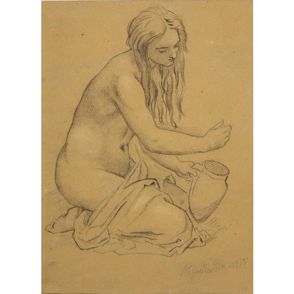 "MORITZ MULLER THE YOUNGER, German (1868-1934) Original Pencil Drawing on Paper ""Female Nude,"" Signed and Dated 1903."