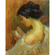 "Antique Pastel Portrait ""A Woman Reading"" Signed ""A. S."""
