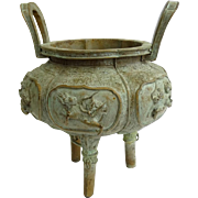 Antique Chinese Bronze Censer, With Mythical Beasts In High Relief
