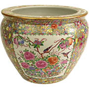 "Chinese Hand-Painted Famille Rose ""Goldfish Bowl"" Jardiniere"