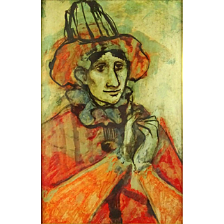 """""""Man With Hat"""" - Mid-Century Oil Painting"""