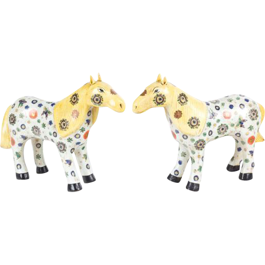 Matched Pair of Chinese Painted Ceramic Horses