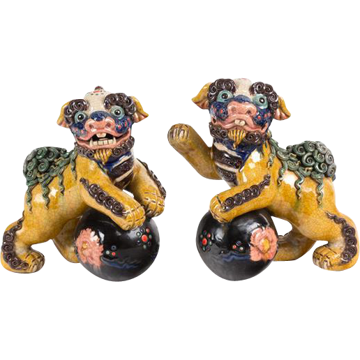 PAIR Of Chinese Ceramic Foo Dogs (Fu Dogs)