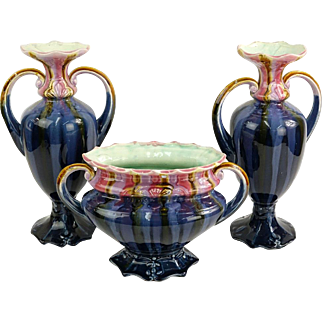 THREE Matched Majolica Vases For The Most Discriminating Decor