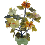 FIVE Carved Hardstone Flowers In A Hardstone Pot, With Lovely Hardstone Foliage,