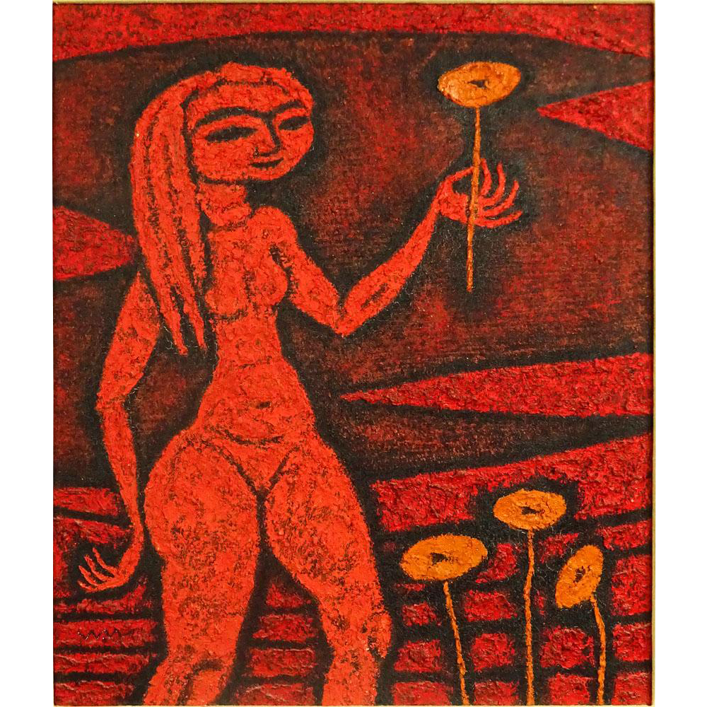"WARO WAKAO (Japanese 20th Century)  ""Nude With Flower""  Signed Oil on Canvas."