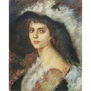 "Antique Pastel Portrait ""Woman In A Hat "" Signed ""A. S."""