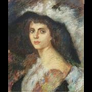 "Antique Pastel Portrait ""Woman In A Hat "" Signed ""A. S."""
