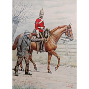 "G. D. GILES (British, 1857-1923)  ""First Royal Dragoons""  Original Signed/Dated Watercolor, 1888, Nicely Framed"