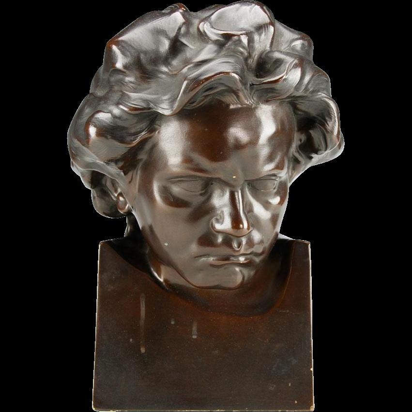 """""""Beethoven"""" Sculpture in Terracotta,Signed PELESCHKA"""