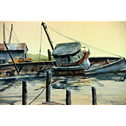 WPA Style Tugboat, Original Watercolor, Signed LIGHTHART.