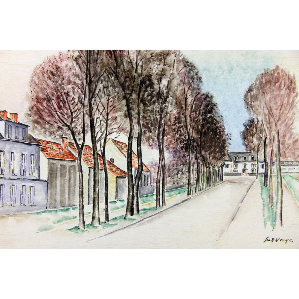 "LEOPOLD SURVAGE (Russian/French, 1879-1968) - ""Paris Street Scene"" - Original Watercolor, Signed/Dated !919."