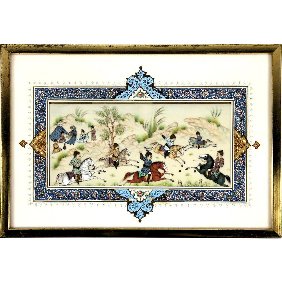 Indian Watercolor Plaque With Warriors on Horseback, While Music and Dancing Are In A Background Tent