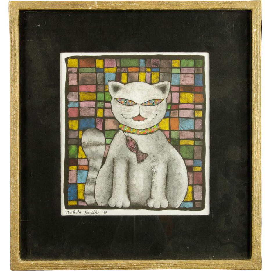 "MICHELA FUSILLO (American 20th/21st Century) -  Original Signed Mixed Media ""Cat With A Fish"""