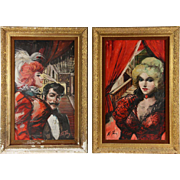 "PAIR Original Signed Oil Paintings - ""Casino Ladies Of Las Vegas"""