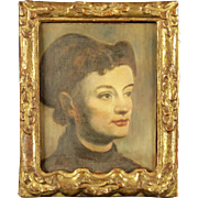 19th Century Italian Portrait Of Young Girl, Oil on Canvas