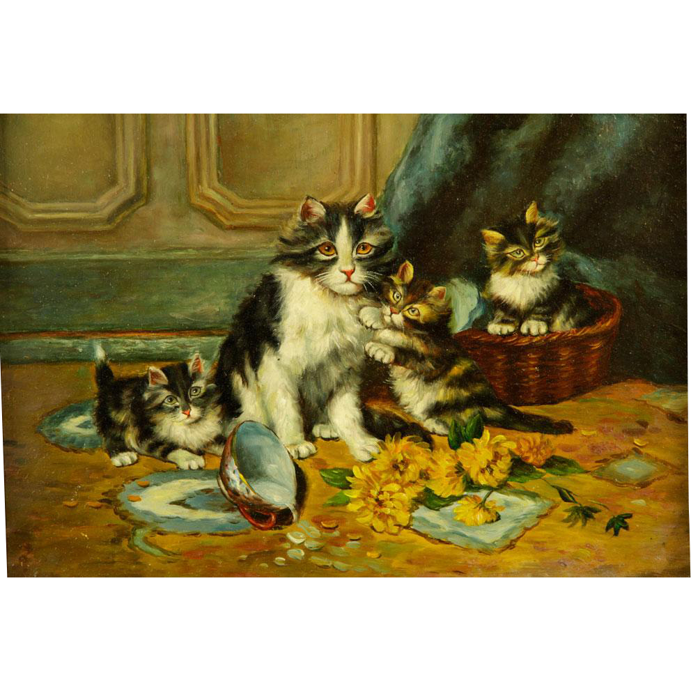 Portrait Of Cats, Original Oil On Panel, Mother and Kittens
