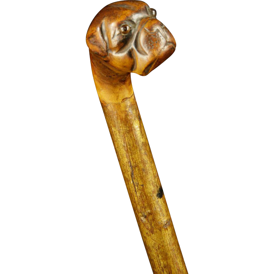 Carved Wood Figural Bulldog Walking Stick/Cane With Glass Eyes