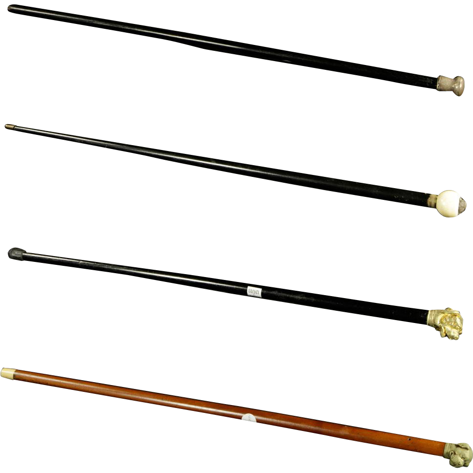 Group of Four Carved Wood Walking Sticks/Canes - Two Figural Dog-Form Canes and Two Non-Figural Canes