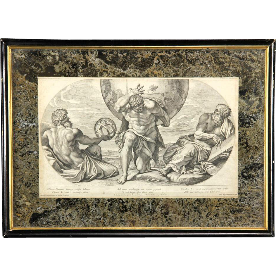 17th Century Venetian Engraving By Petrus Aquila (1645 - 1690) With Mirrored Mats