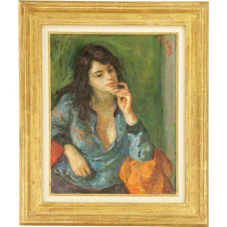 "ROBERT PHILIPP (American, 1895-1981), ""Pensive Girl,"" Original Signed Oil On Canvas, Dated 1974."