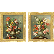 PAIR 18th Century Floral Still Life Original Oil On Canvas