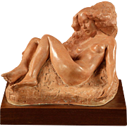Terracotta Reclining Nude Sculpture, Signed/Dated