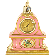 Exquisite French Pink Porcelain Clock (from Estate of Baroness Mary McFall de Gunzburg)