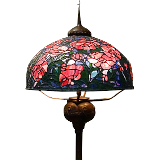 Exquisite Leaded Glass Shade On Floor Lamp, Early to Mid 20th Century